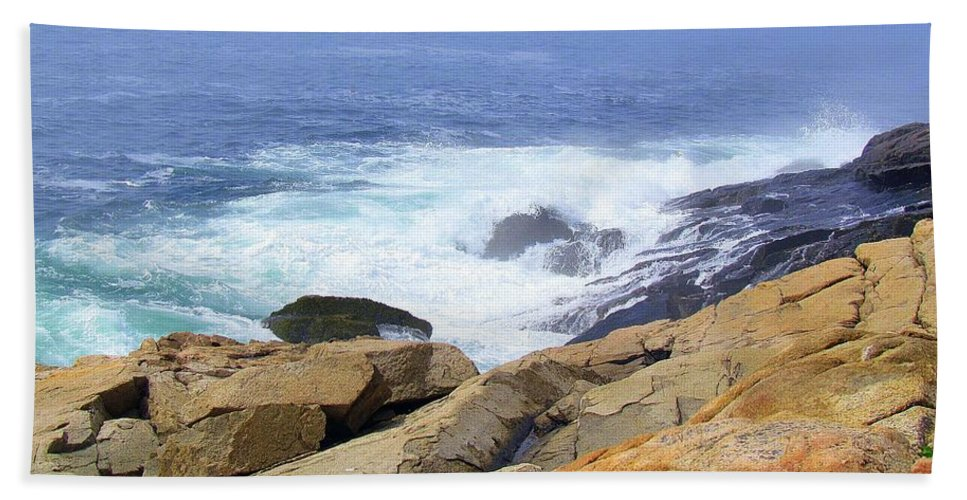 Acadia National Park Hand Towel featuring the photograph Wild Waves by Elizabeth Dow