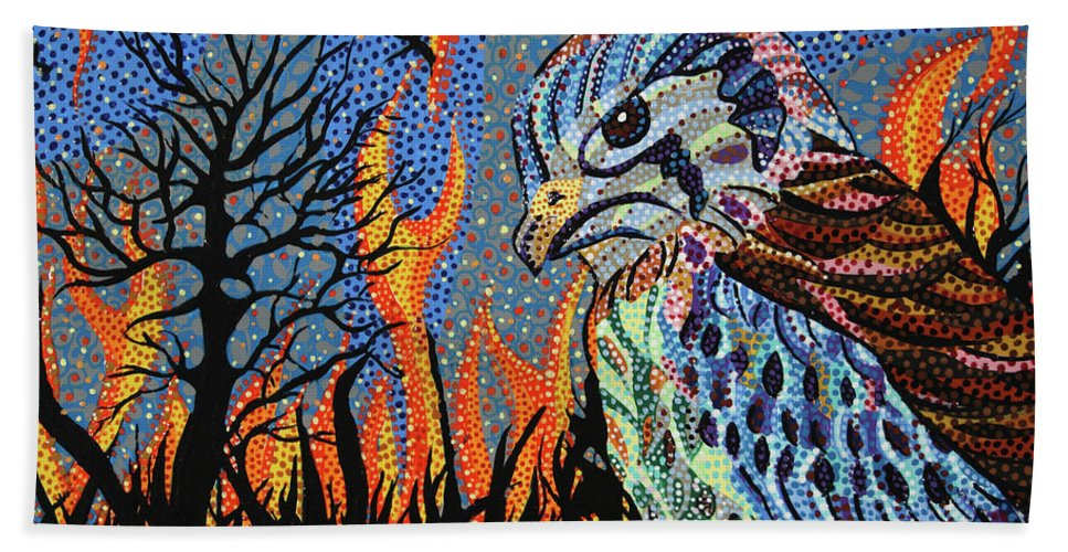Wildfire Bath Sheet featuring the painting Wildflire by Erika Pochybova