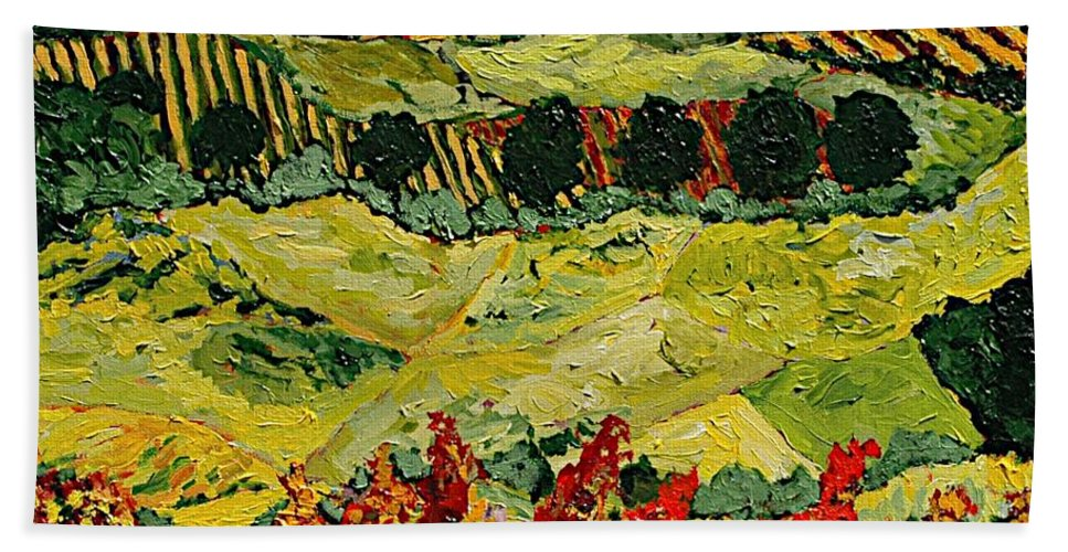 Landscape Hand Towel featuring the painting Wildflower Jungle by Allan P Friedlander