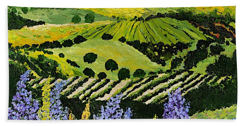 Landscape Hand Towel featuring the painting Wildflower Ridge by Allan P Friedlander