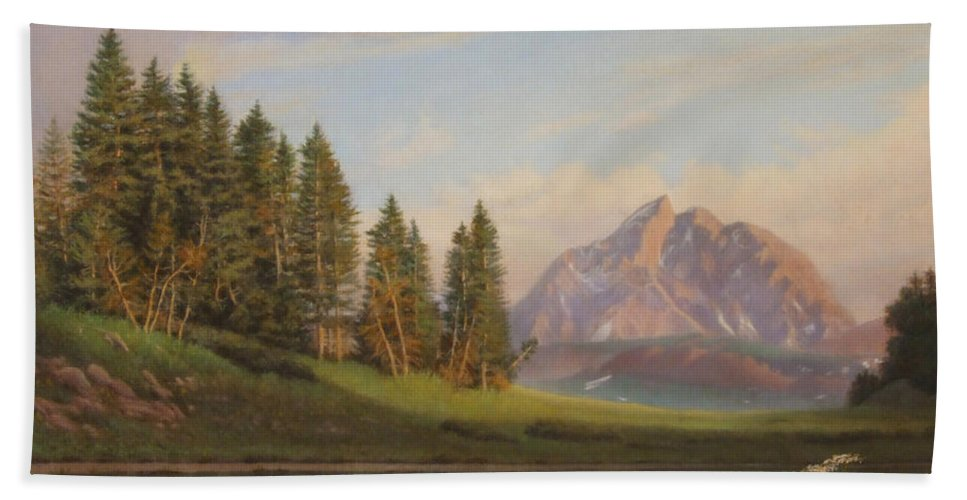 Western Hand Towel featuring the painting Wildflowers Mountains River Western Original Western Landscape Oil Painting by Walt Curlee