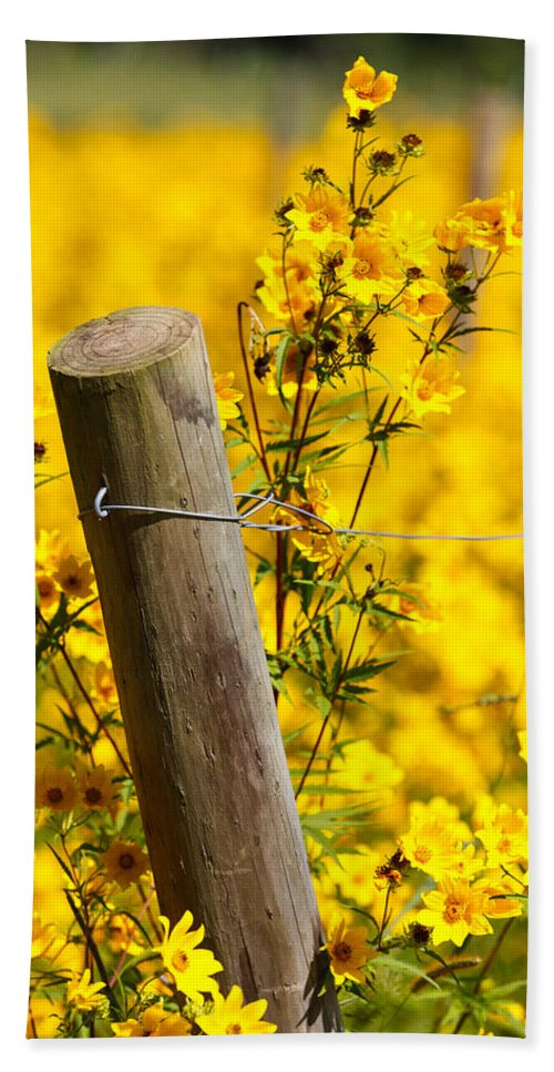 Wildflowers Bath Sheet featuring the photograph Wildflowers On Fence Post by Carol VanDyke