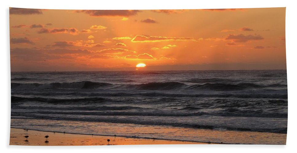 Beach Hand Towel featuring the photograph Wildwood Beach Here Comes The Sun by David Dehner