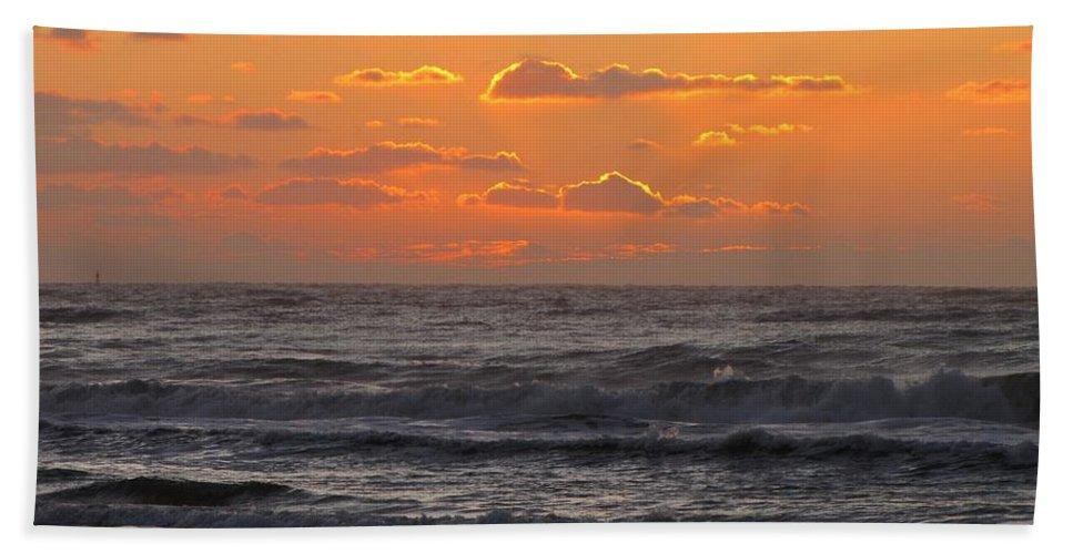 Beach Hand Towel featuring the photograph Wildwood Beach Just Before Dawn by David Dehner