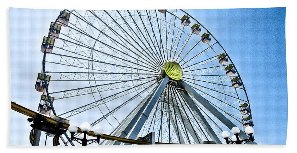 Wildwood Ferris Wheel Hand Towel featuring the photograph Wildwood Ferris Wheel by Bill Cannon