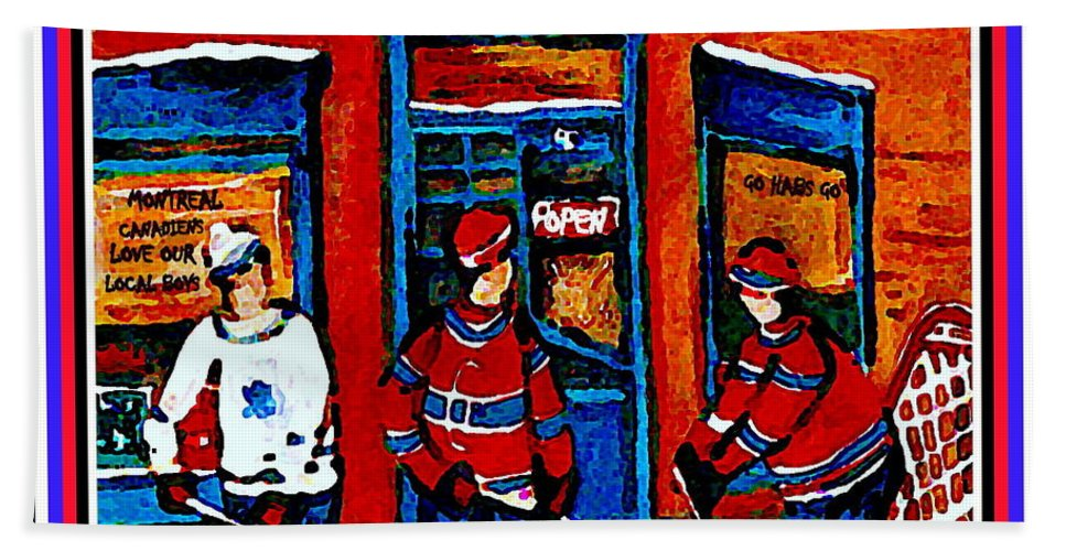 Wilenskys Deli Hand Towel featuring the painting Wilenskys Hockey Art Posters Prints Cards Originals Commission Montreal Paintings Contact C Spandau by Carole Spandau