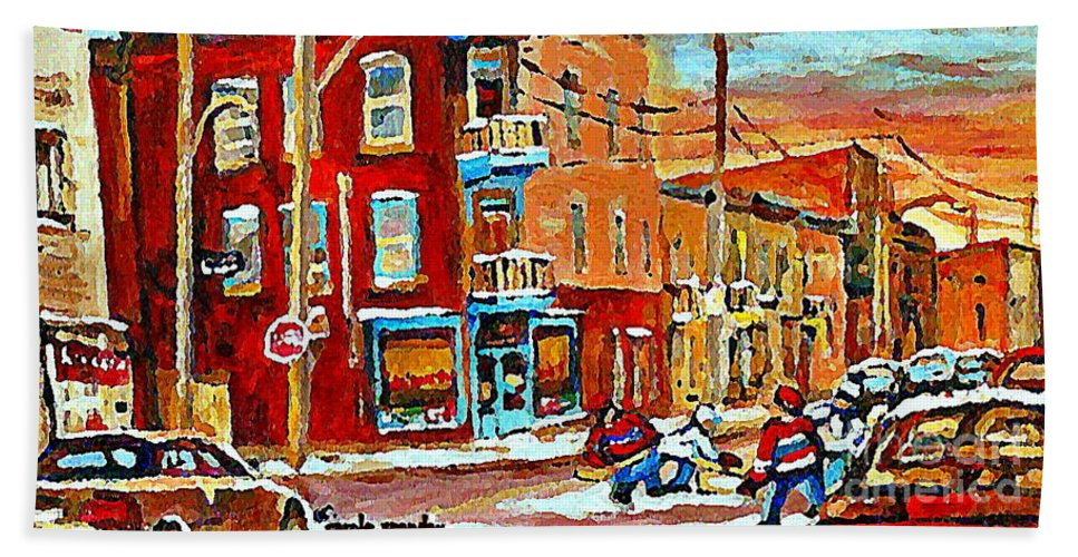 Montreal Hand Towel featuring the painting Wilenskys Paintings Hockey Art Prints Originals Commissions Contact Popular Montreal Artist Cspandau by Carole Spandau