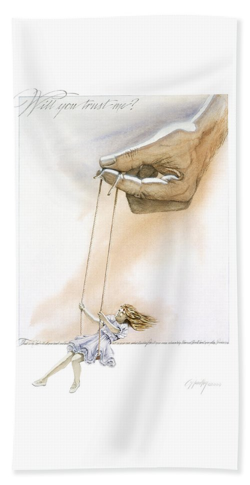 Inspirational Bath Sheet featuring the painting Will You Trust Me Blonde by Cliff Hawley