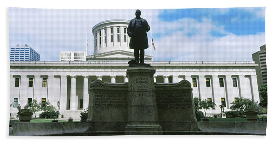 Photography Bath Sheet featuring the photograph William Mckinley Statue, Ohio by Panoramic Images