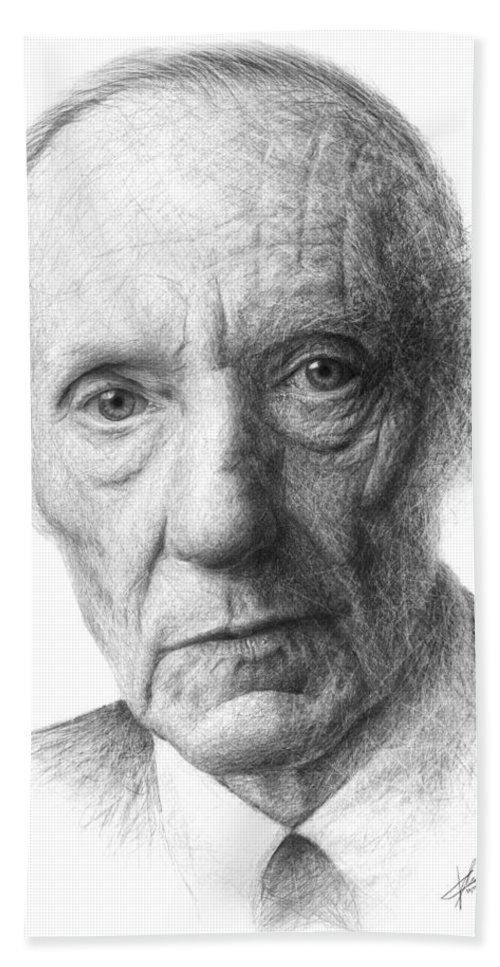 Portrait Hand Towel featuring the drawing William S. Burroughs by Christian Klute