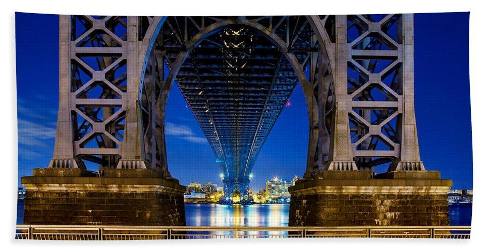 Williamsburg Bridge Bath Towel featuring the photograph Blue Punch by Az Jackson