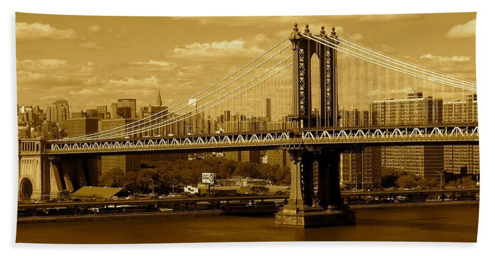Iphone 5 Cover Cases Hand Towel featuring the photograph Williamsburg Bridge New York City by Monique's Fine Art