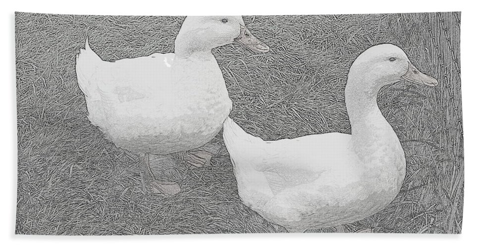 Duck Bath Sheet featuring the photograph Willie N Waddle by Kathy Sampson