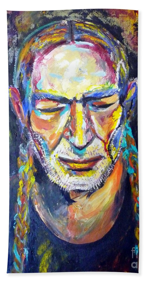 Autism Bath Sheet featuring the painting Willie Nelson by To-Tam Gerwe