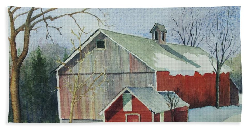 New England Bath Towel featuring the painting Williston Barn by Mary Ellen Mueller Legault