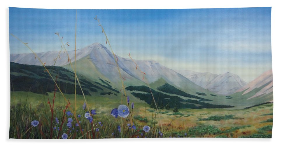 Mountain Bath Sheet featuring the painting Willmore Wilderness by Brent Ciccone