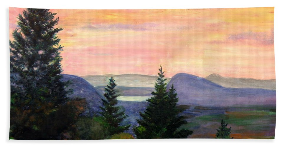 Clouds Hand Towel featuring the painting Willoughby Gap From Burke Mountain by Donna Walsh