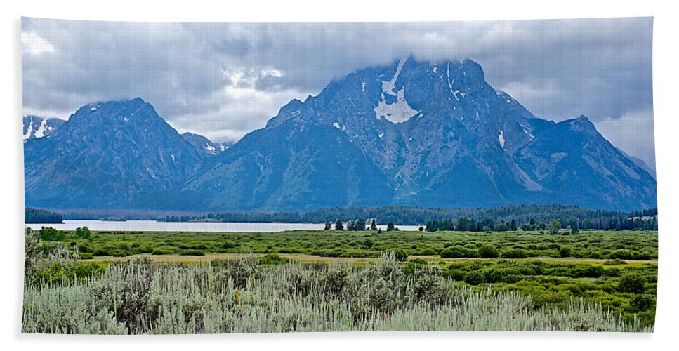 Willow Flats Overlook In Grand Teton National Park Hand Towel featuring the photograph Willow Flats Overlook In Grand Teton National Park-wyoming  by Ruth Hager