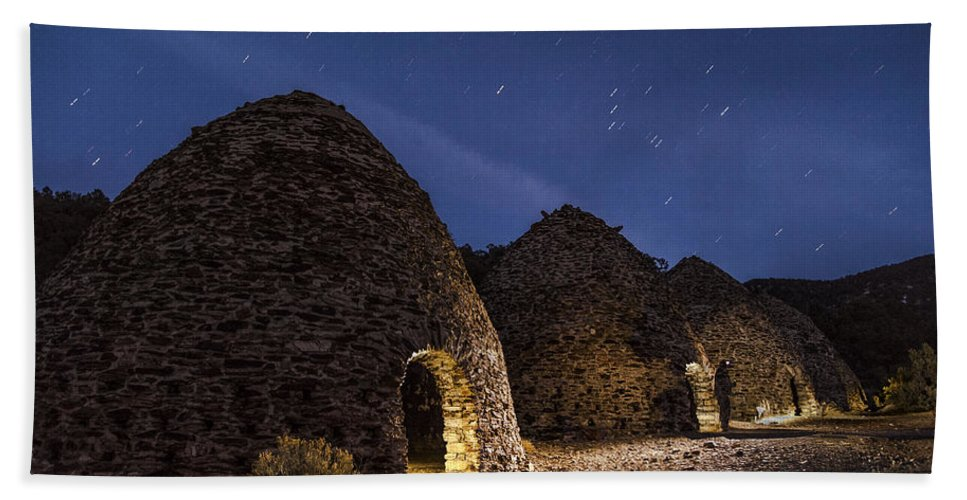 Night Bath Sheet featuring the photograph Wilrose Charcoal Kilns by Cat Connor