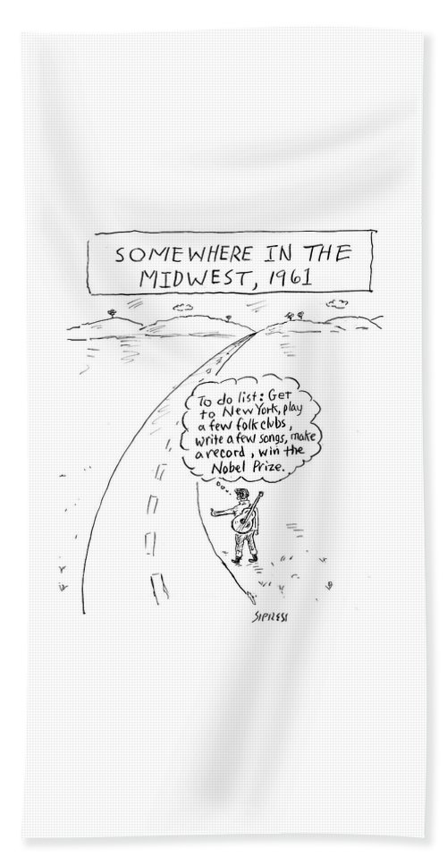 Somewhere In The Midwest Bath Sheet featuring the drawing Win The Nobel Prize by David Sipress