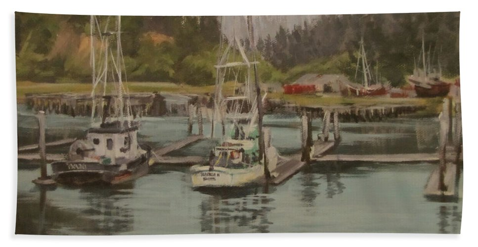 Original Bath Sheet featuring the painting Winchester Bay by Karen Ilari
