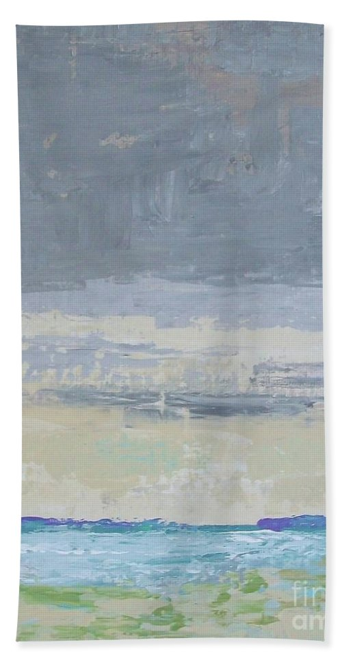Abstract Impressionism Bath Sheet featuring the painting Wind And Rain On The Bay by Gail Kent