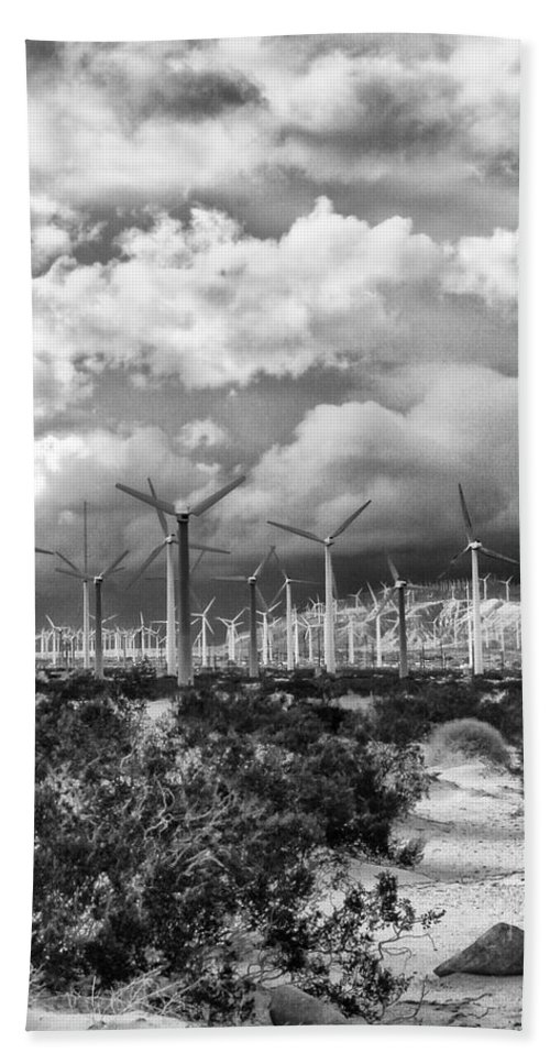 Windmills Bath Sheet featuring the photograph Wind Dancer Palm Springs by William Dey