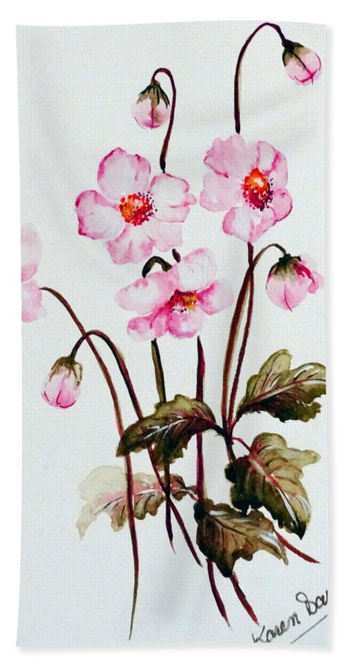 Florals Hand Towel featuring the painting Wind Flowers by Karin Dawn Kelshall- Best