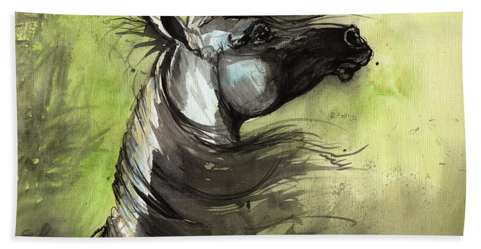 Arabian Horse Hand Towel featuring the painting Wind In The Mane 3 by Angel Ciesniarska