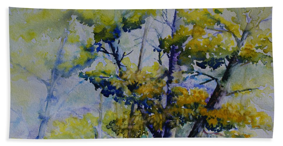 Whiteshell Hand Towel featuring the painting Wind In The Trees by Joanne Smoley