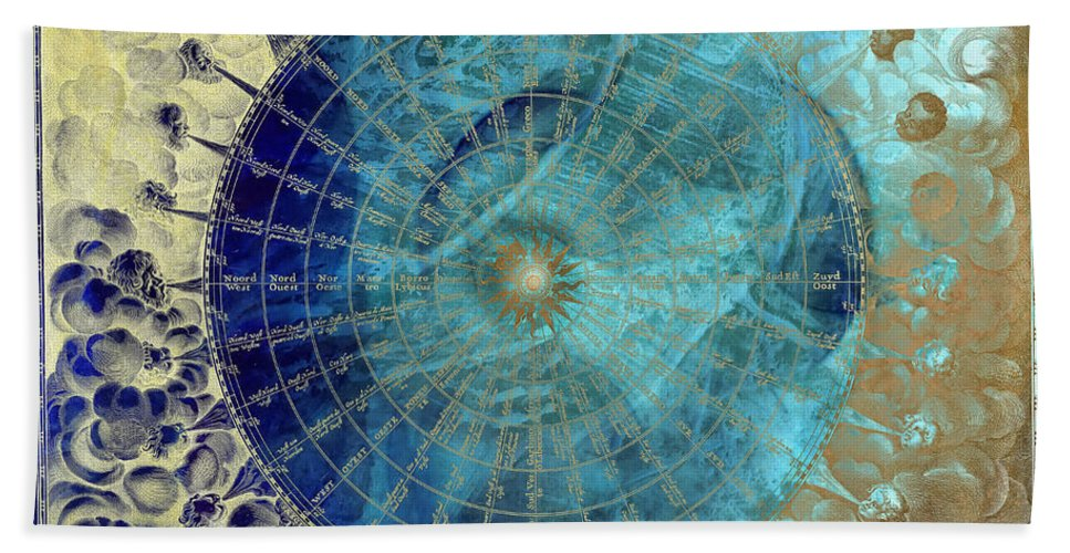 Wind Bath Sheet featuring the digital art Wind Rose Map Of The Winds by Justyna JBJart