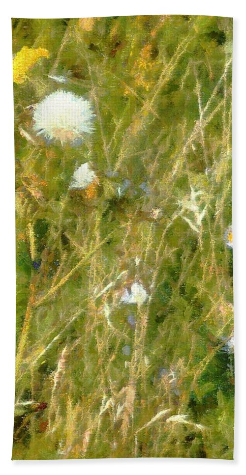Bluets Bath Sheet featuring the painting Wind Through The Meadow by RC DeWinter