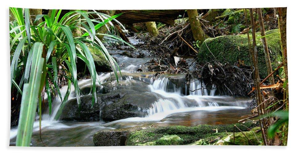Stream Hand Towel featuring the photograph Winding Cascade by Darren Burton