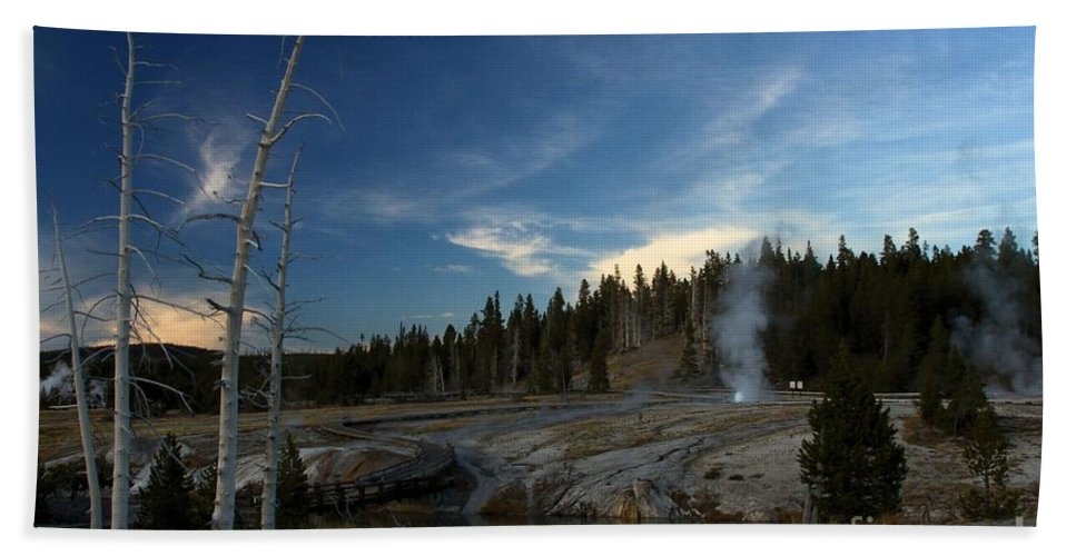 Yellowstone National Park Hand Towel featuring the photograph Winding Down by Adam Jewell