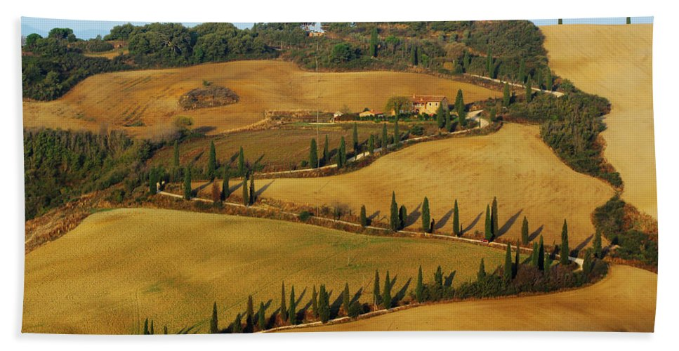 Landscape Hand Towel featuring the photograph Winding Road And Cypress Trees In Tuscany 1 by Greg Matchick