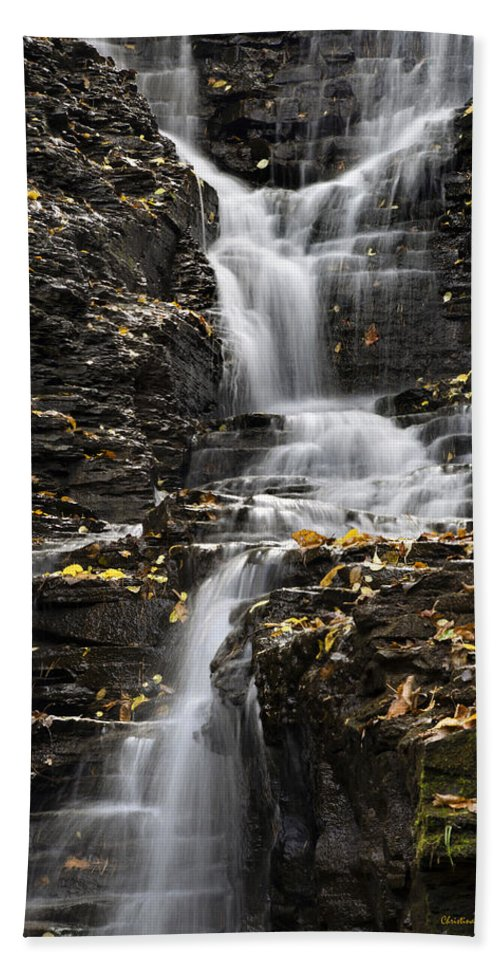 Waterfall Hand Towel featuring the photograph Winding Waterfall by Christina Rollo