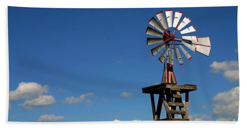 Windmill Photographs Bath Sheet featuring the photograph Windmill-5749b by Gary Gingrich Galleries