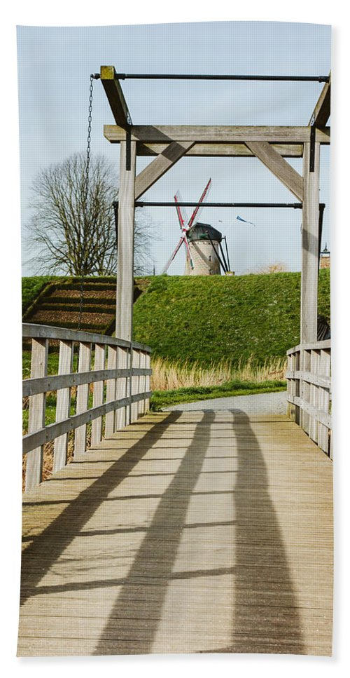 Windmill Hand Towel featuring the photograph Windmill Bridge by Pati Photography