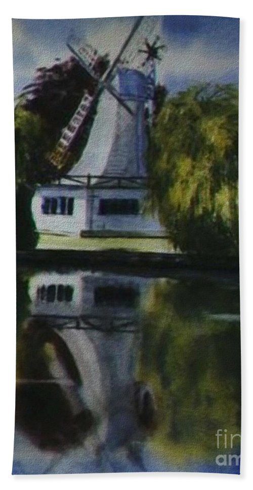 Windmill In The Willows Bath Sheet featuring the painting Windmill In The Willows by Martin Howard