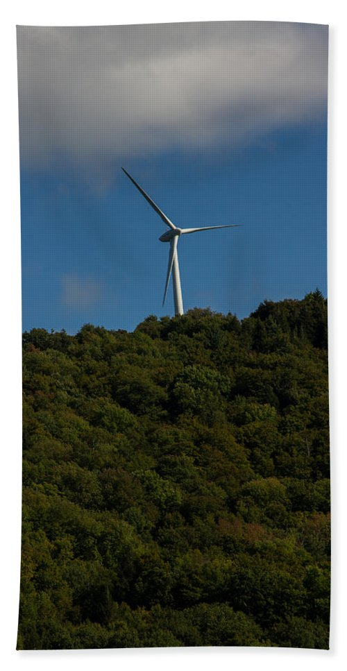 Wind Bath Sheet featuring the photograph Windmill On A Mountain by Kathleen Odenthal