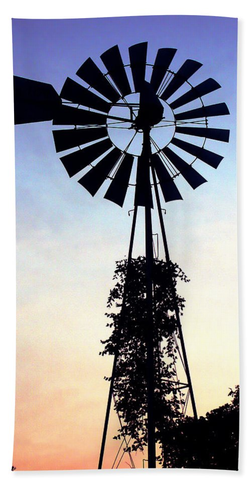 Wind Hand Towel featuring the photograph Windmill Silhouette by Marilyn Hunt