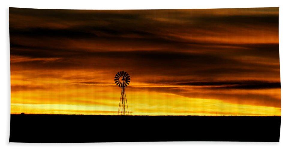 Windmill Bath Sheet featuring the photograph Windmill Sunset by Gary Langley