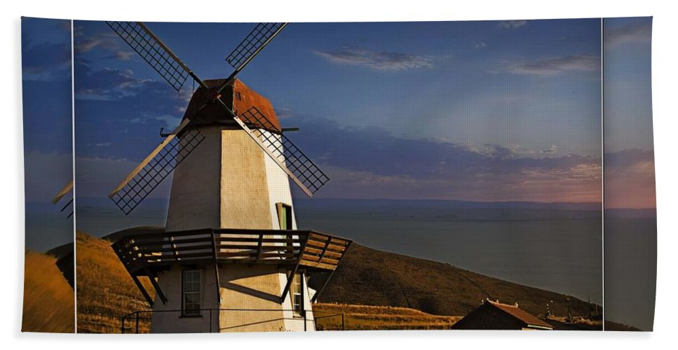 Baker City Windmill Hand Towel featuring the photograph Windmill by Walter Herrit