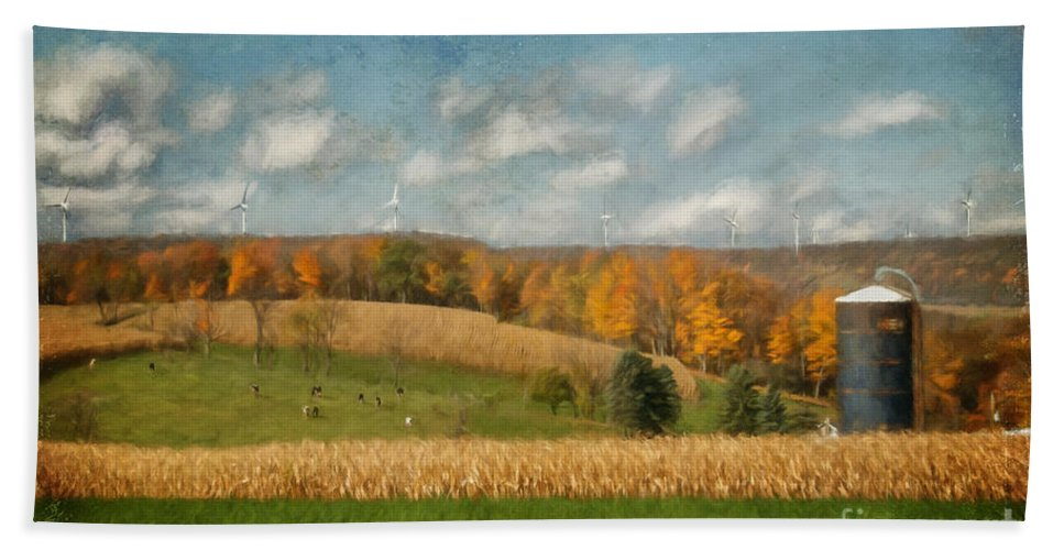 Windmills Bath Sheet featuring the photograph Windmills On The Horizon by Lois Bryan