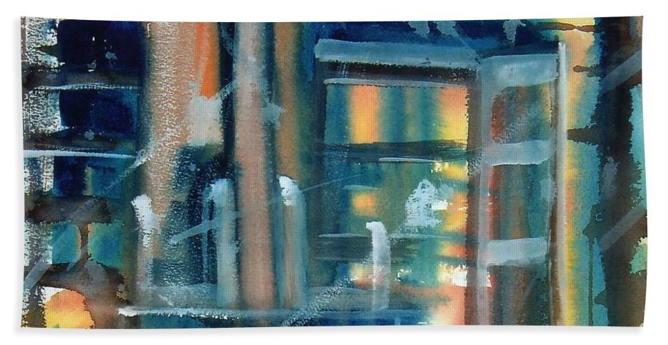 Window Bath Sheet featuring the painting Window Abstract by Katherine Berlin