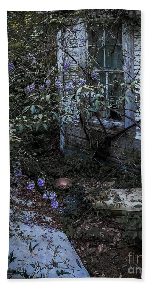 Abandoned Hand Towel featuring the photograph Window And Flowers by Ken Frischkorn