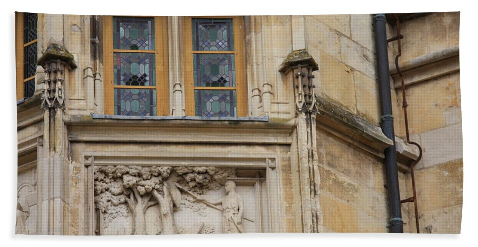 Window Hand Towel featuring the photograph Window And Relief Palace Ducal by Christiane Schulze Art And Photography