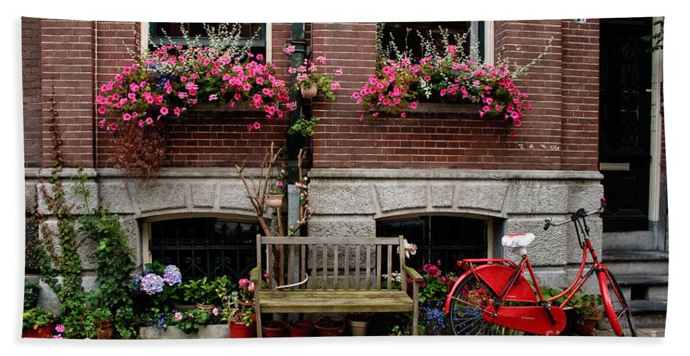 Amsterdam Hand Towel featuring the photograph Window Box Bicycle And Bench -- Amsterdam by Thomas Marchessault