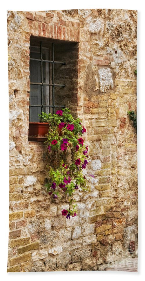 Italy Hand Towel featuring the photograph Window Box by Timothy Hacker