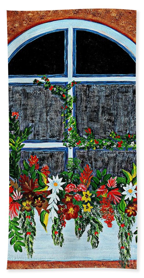 Window Flower Box On A Stucco Wall Hand Towel featuring the painting Window Flower Box On A Stucco Wall by Barbara Griffin